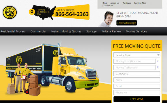 The home page of Full Service Van Lines.