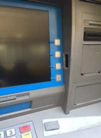 Thieves cut a hole on vertical face of the ATM perpendicular to the cash machine's screen. Source: EAST.