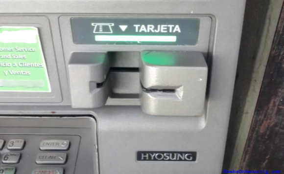 The card skimming device, as attached to a compromised ATM in Puerto Vallarta.