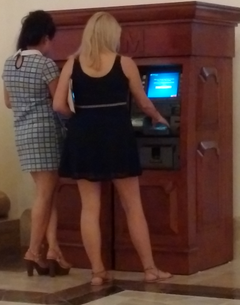 We couldn't dissuade these young ladies from using the compromised machine.