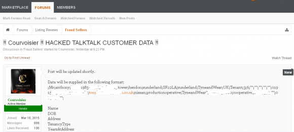 An AlphaBay dark market thread promising the release of TalkTalk customer data.
