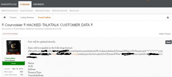 An AlphaBay dark market thread promising the release of TalkTalk customer data.