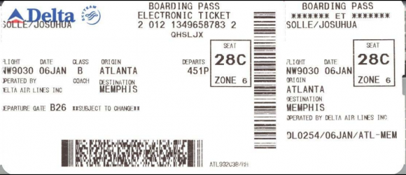 An older Delta boarding pass with a board code. Source: IATA.