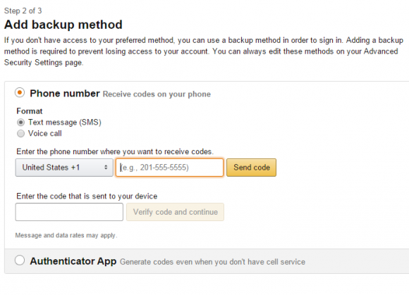 Step two of three for enabling multi-factor authentication on Amazon.