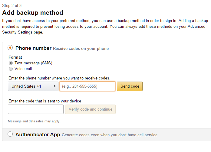 amazon no security code