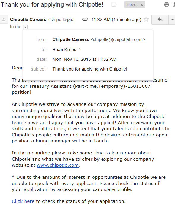 A confirmation letter from Chipotle Careers, which for at least several months used the reply address chipotlehr.com, a domain the company didn't own.