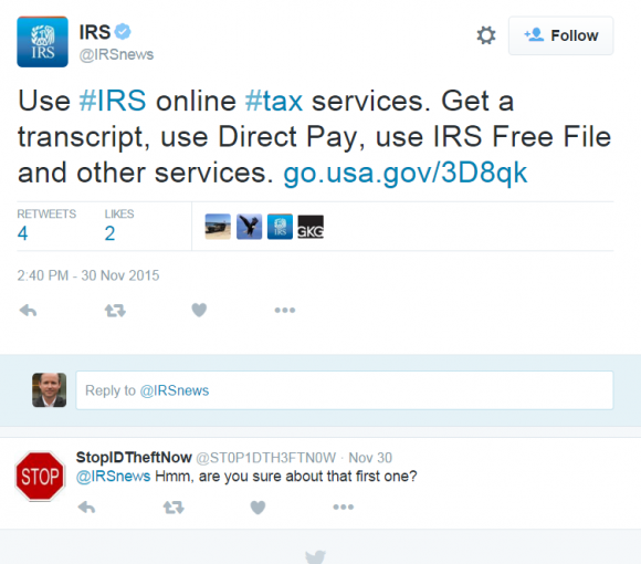 IRS's Twitter account urging followers to use a service that hasn't been available for months.