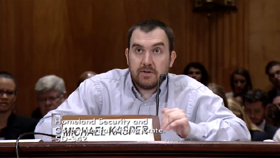 Poughkeepsie, NY victim Michael Kasper testifying before the Senate Homeland Security Committee in June 2015.