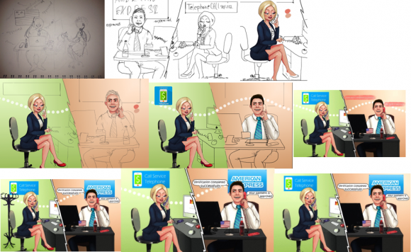 This image shows a commissions ad for a criminal call center service, from concept to final design. Credit: Hold Security.