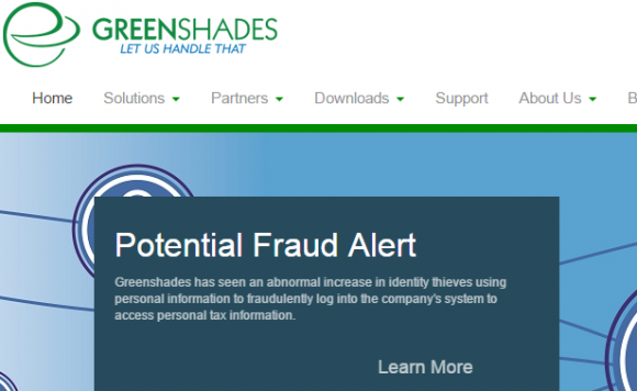 A notice on the Greenshades Web site.