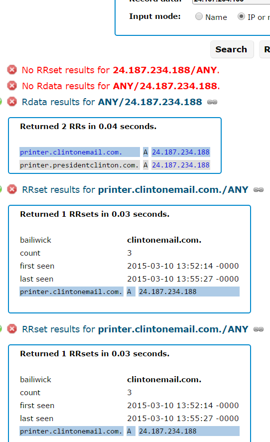 "Farsight's record for 24.187.234.188, the Internet address which once mapped to ""printer.clintonemail.com""."