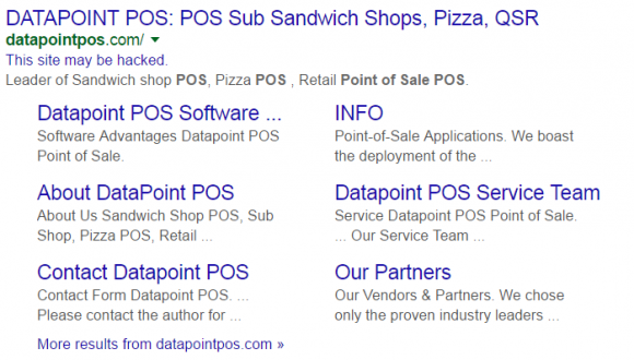 Google thinks Datapoint's Web site is trying to foist malicious software.
