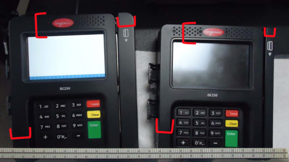 The red calipers in the image above show the size differences in various noticeable areas of the case overlay on the left compared to the actual ISC250 on the right. Source: Ingenico.