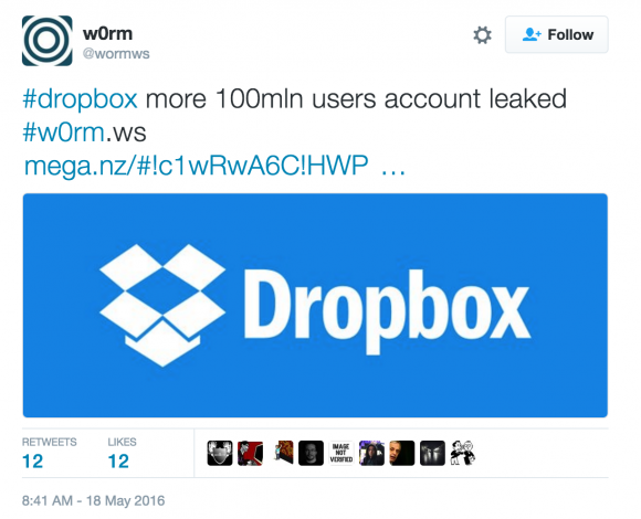w0rm's advertisement of the claimed dropbox credentials.