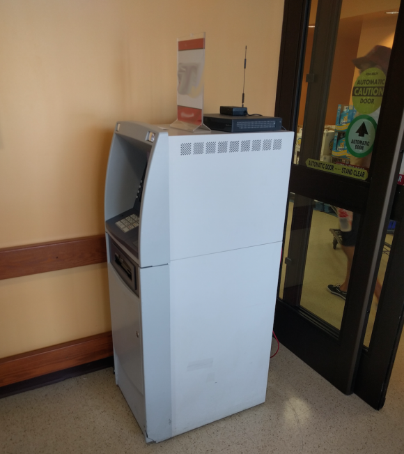 A not-very-secure ATM in front of a grocery store in Northern Virginia.