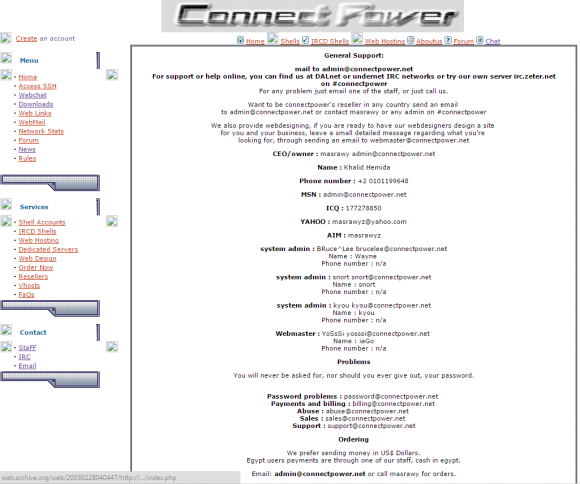 ConnectPower's Web site in 2003.