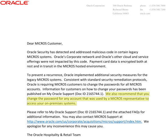 One of two documents Oracle sent to MICROS customers and the sum total of information the company has released so far about the breach.