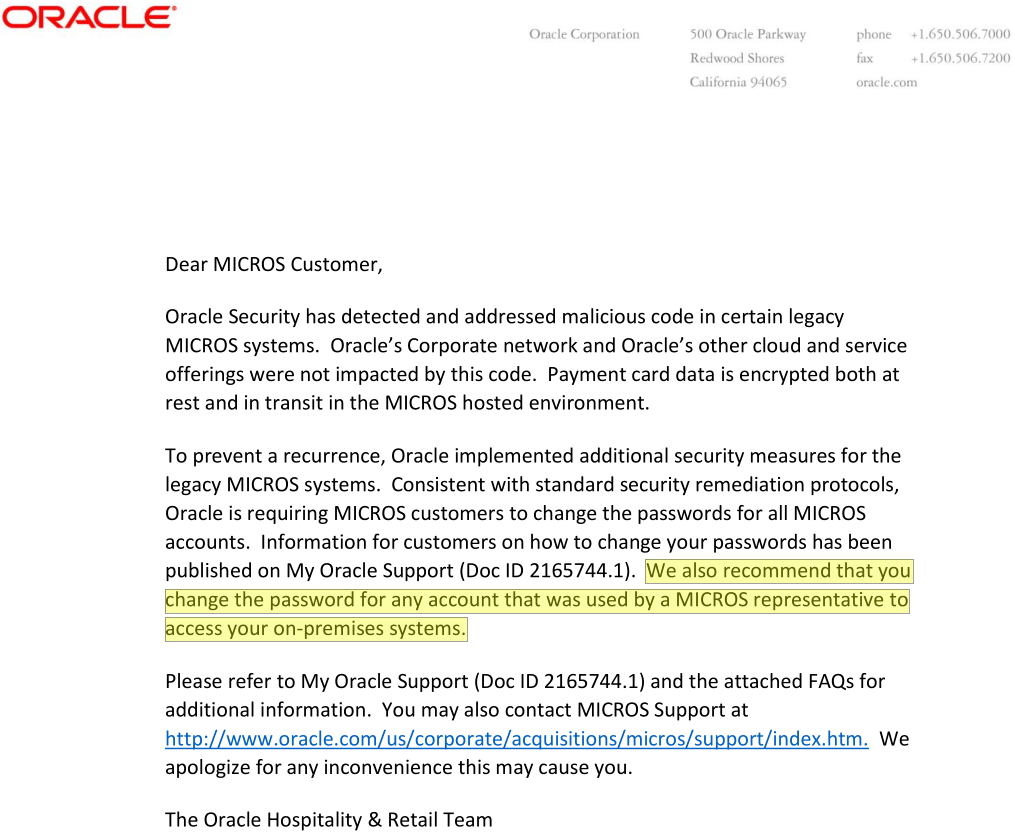 One Of Two Documents Oracle Sent To MICROS Customers And The Sum Total Information