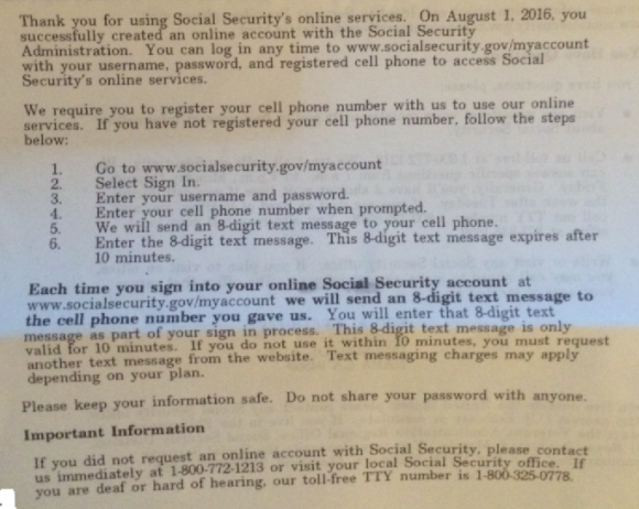 A letter that the Social Security Administration sends out via the U.S. Mail for every American who signs up to manage their benefits at ssa.gov.