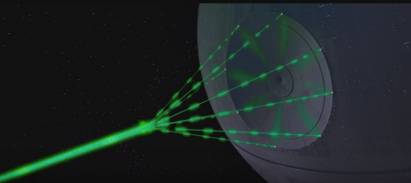 A scene from the 1978 movie Star Wars, which the Death Star tests its firepower by blowing up a planet.