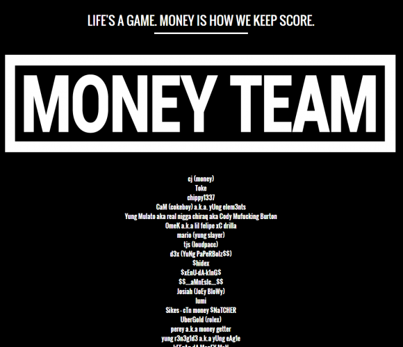 The MoneyTeam's roster as of November 2015. Image: Archive.org.