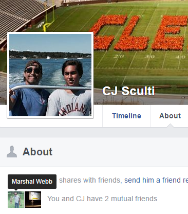 CJ Sculti Jr.'s Facebook profile photo. Sculti is on pictured on the right.
