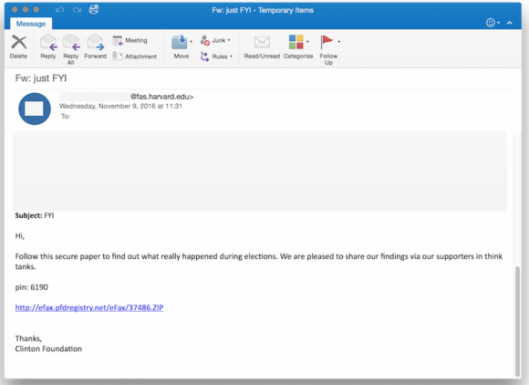One of the phishing emails in the latest political espionage attack launched by The Dukes. Source: Volexity.