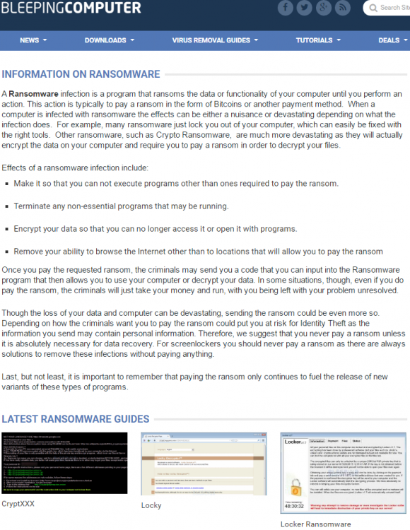 Bleepingcomputer.com's ransomware guide.