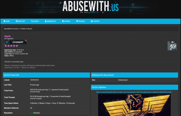 Xerx3s's administrator account profile at Abusewith.us.