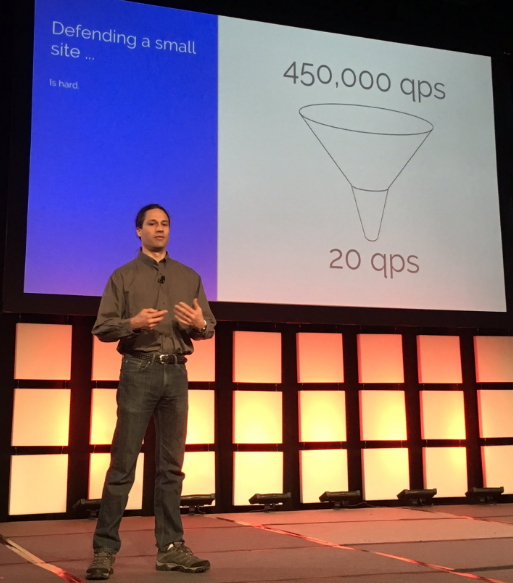 Google Security Reliability Engineer Damian Menscher speaking at the Enigma conference this week. Photo: @mrisher