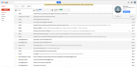 """A screenshot shared with me in Sept. 2016 by an anonymous source who said he'd hacked the Gmail address """"themarketsales@gmail.com""""."""