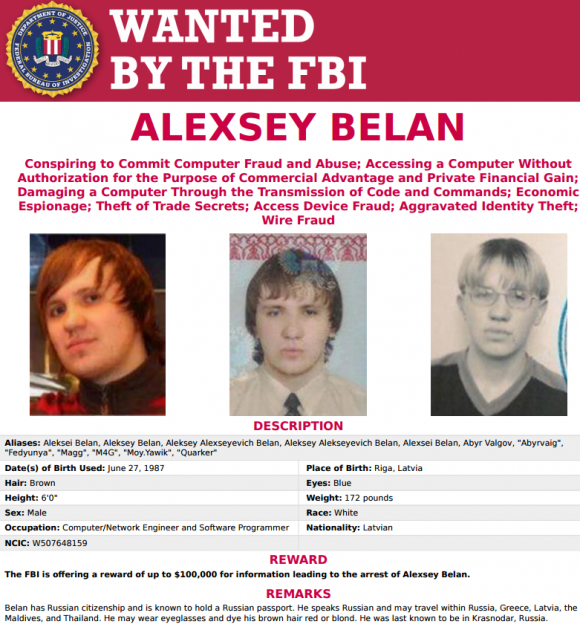 A screenshot from the FBI's Cyber Most Wanted List for Alexsey Belan.