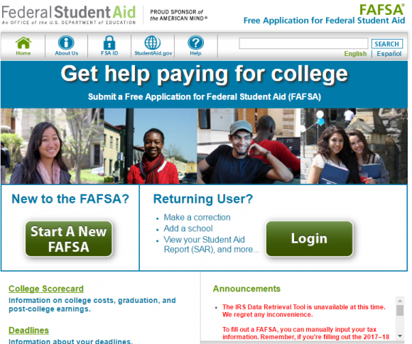 The U.S. Department of Education's FAFSA federal student aid portal. A notice about the closure of the IRS's data retrieval tool can be seen in red at the bottom right of this image.