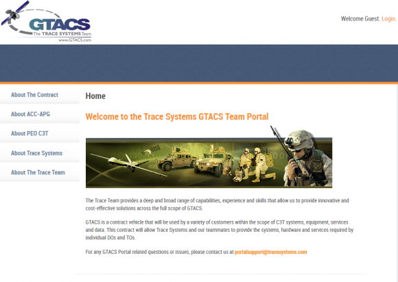 The Gtacs.com home page.