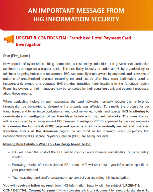 IHG reports major breach of card data