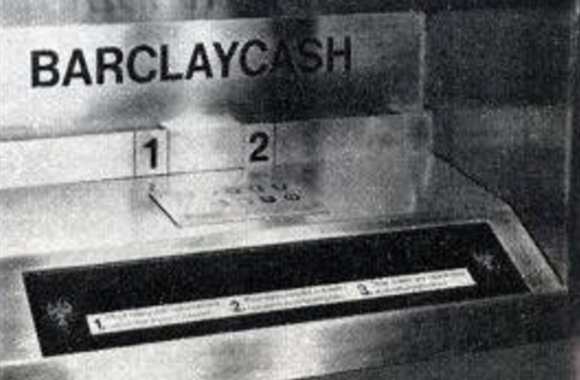 The first ATM was installed in Enfield, in North London, on June 27, 1967. Image: Barclays Bank.