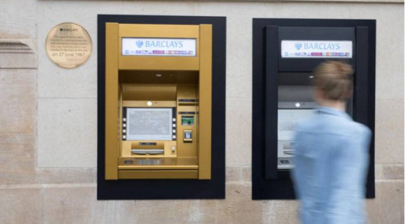 The location of the world's first ATM, turned to gold to commemorate the cash machine's golden anniversary. Image: Barclays Bank.