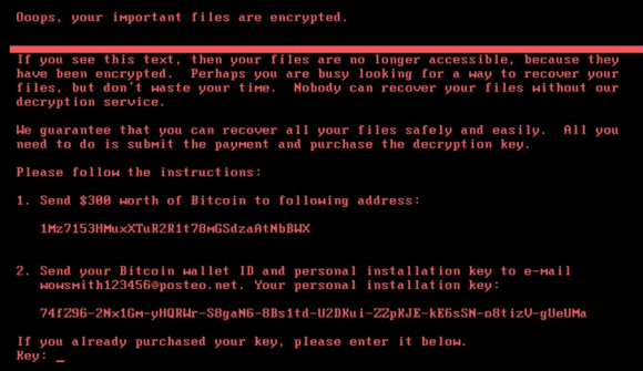 The ransom note that gets displayed on screens of Microsoft Windows computers infected with Petya.