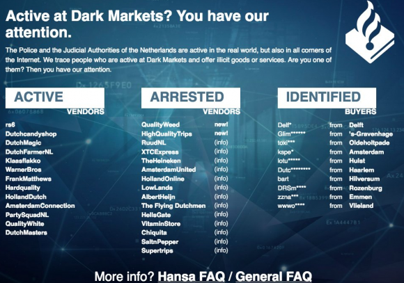 A message from Dutch authorities listing the top dark market vendors by nickname.