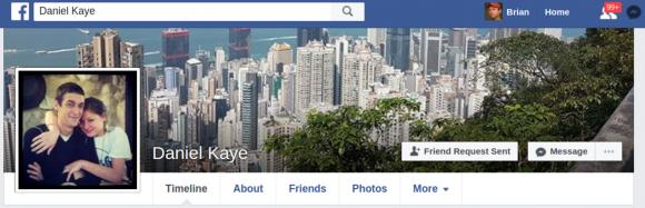 Daniel Kaye's Facebook profile page.