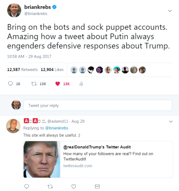 This tweet about Putin generated more than 12,000 retweets and likes in a few hours.