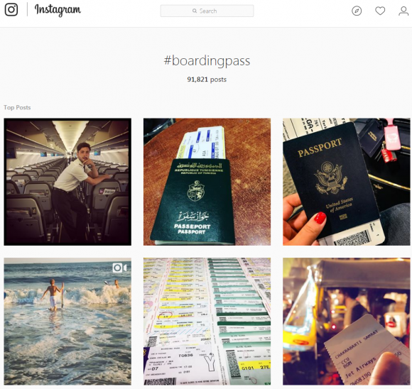"A search on Instagram for ""boarding pass"" returned 91,000+ results."