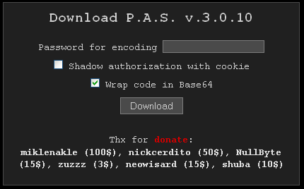The P.A.S. Web shell, as previously offered for free on the now-defunct site profexer[dot]name.