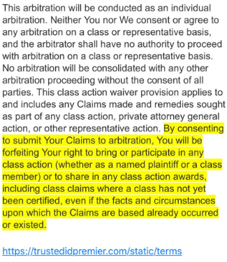 Verbiage from the terms of service from Equifax's credit monitoring service TrustID Premier.