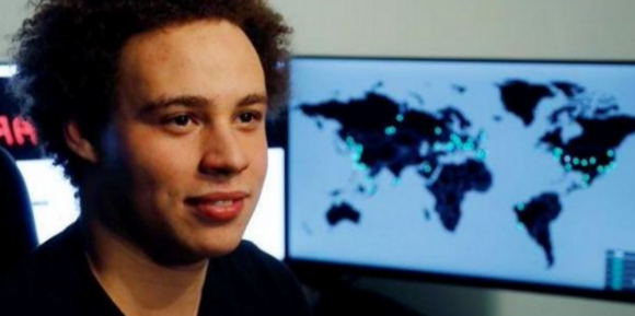 Marcus Hutchins, just after he was revealed as the security expert who stopped the WannaCry worm. Image: http://twitter.com/malwaretechblog