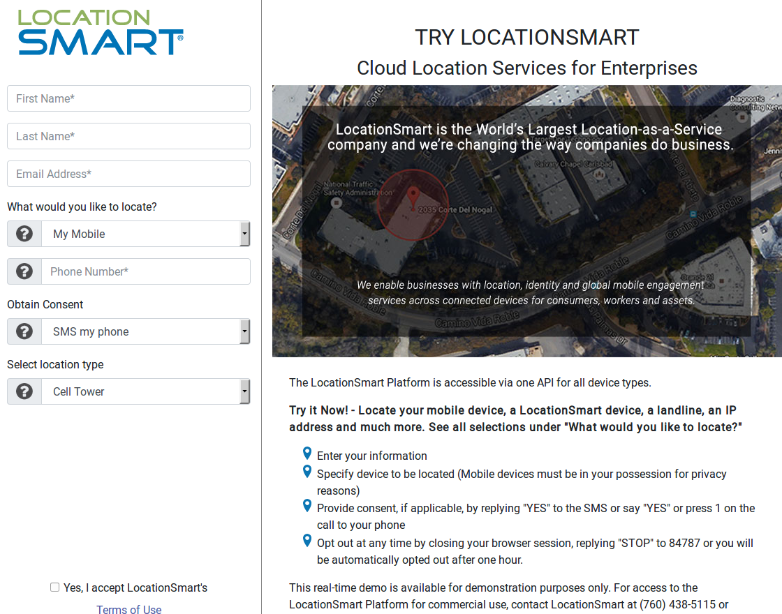 - lsmartdemo - Tracking Firm LocationSmart Leaked Location Data for Customers of All Major U.S. Mobile Carriers Without Consent in Real Time Via Its Web Site — Krebs on Security