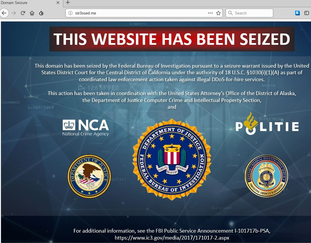 The Seizure Notice Appearing On Homepage This Week Of More Than A Dozen Popular Booter Or Stresser DDoS For Hire Web Sites