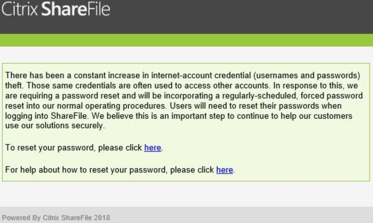 sharefile  - sharefile - When Does a Legitimate Password Reset Email Feel Like a Phishing Attack? Just Ask Citrix Users