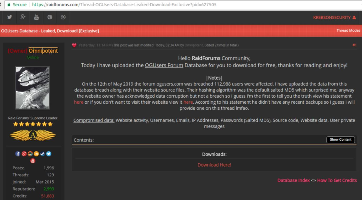 - raidforums ogu - Account Hijacking Forum OGusers Hacked –