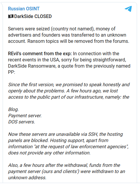 DarkSide Ransomware Gang Quits After Servers, Bitcoin Stash Seized